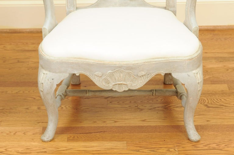 Pair of Swedish Rococo Style 1890s Painted Wood Armchairs with New Upholstery For Sale 4