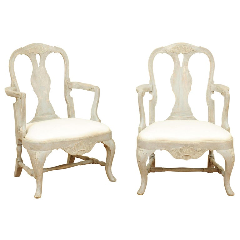 Pair of Swedish Rococo Style 1890s Painted Wood Armchairs with New Upholstery For Sale