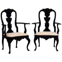 Pair of Swedish Rococo Style Armchairs, Late 19th Century
