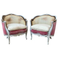 Pair of Swedish Rococo Style Bergère Armchairs
