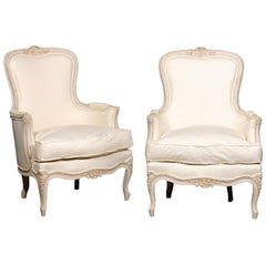 Pair of Swedish Rococo Style Painted Bergères Chairs, circa 1880 with Upholstery