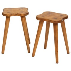 Pair of Swedish Solid Birch Stools or Side Tables, circa 1960s