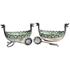 Pair of Swedish Sterling Silver Plique-a-jour Viking Ship Salt Cellars & Spoons