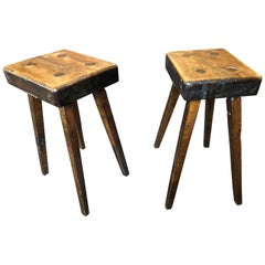 "Pair of Swedish Stools Signed ""Karl Åberg, 1949"""