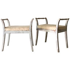 Pair of Swedish Stools with Armrests