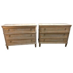 Pair of Swedish Style Three-Drawer Commodes, Chests or Nightstands