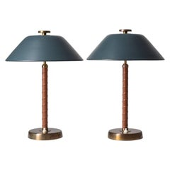 Pair of Swedish Table Lamps, 1940s, Brass and Leather
