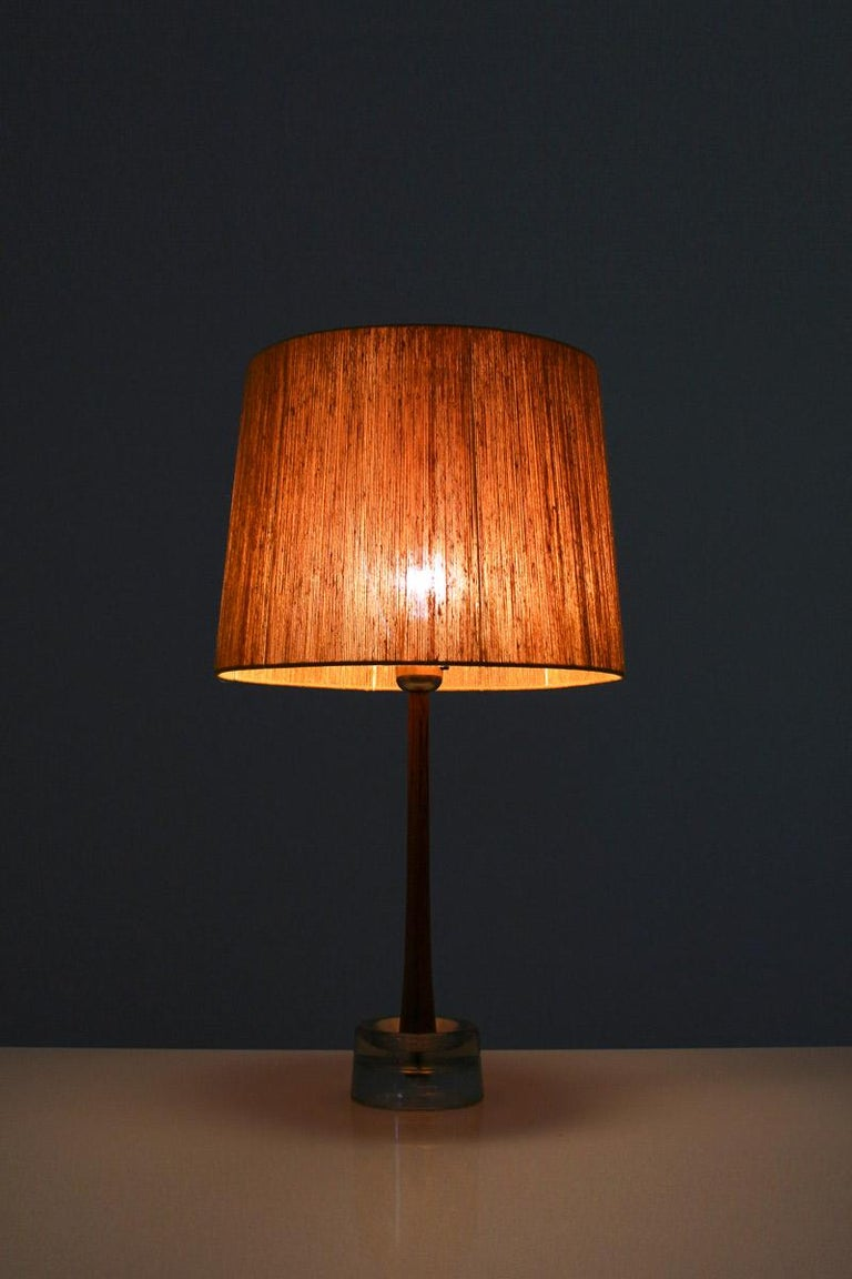 Mid-Century Modern Pair of Swedish Table Lamps in Rosewood and Glass by Stilarmatur Tranås For Sale