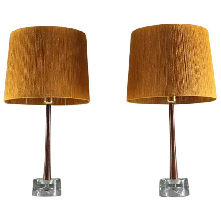 Pair of Swedish Table Lamps in Rosewood and Glass by Stilarmatur Tranås