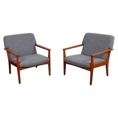 Pair of Swedish Teak 1960s Lounge Chairs Newly Refinished and Reupholstered