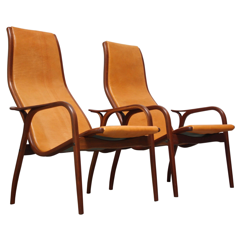 Pair of Swedish Teak and Leather 'Lamino' Chairs by Yngve Ekström