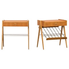 Pair of Swedish Teak and Oak Nightstands, 1960s