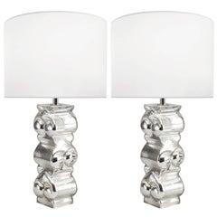 Paar Schwedische Strukturglas-Lampen