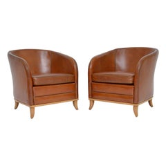 Pair of Swedish Vintage Leather Armchairs by Bröderna Anderssons