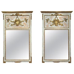 Pair of Swedish Wall Console or Pier Mirrors Painted and Parcel-Gilt