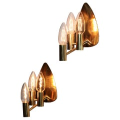 Pair of Swedish Wall Lights in Brass, 1960s Vintage