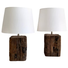 Pair of Swedish Wooden Brutalistic Lamps