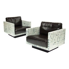 Pair of Sweetheart Graffiti Leather Armchairs Bespoke Art Furniture