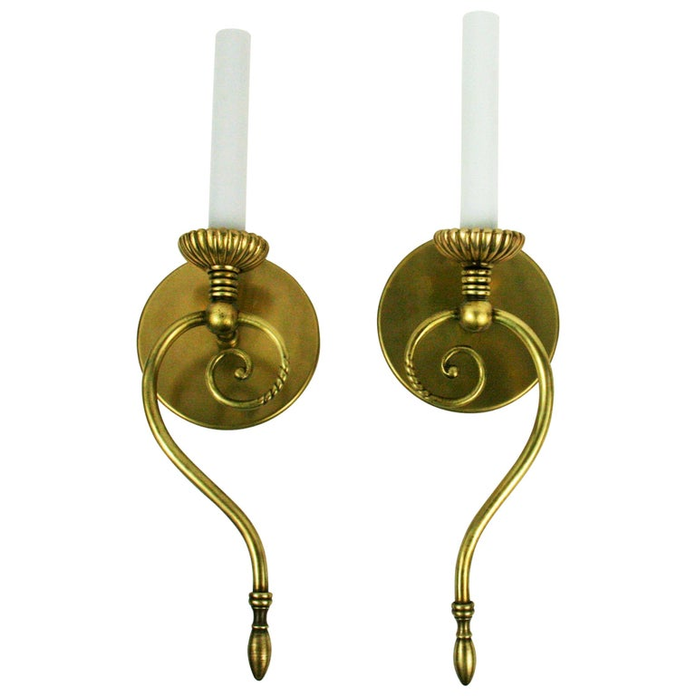 Pair of Swirled Brass Midcentury Sconce For Sale