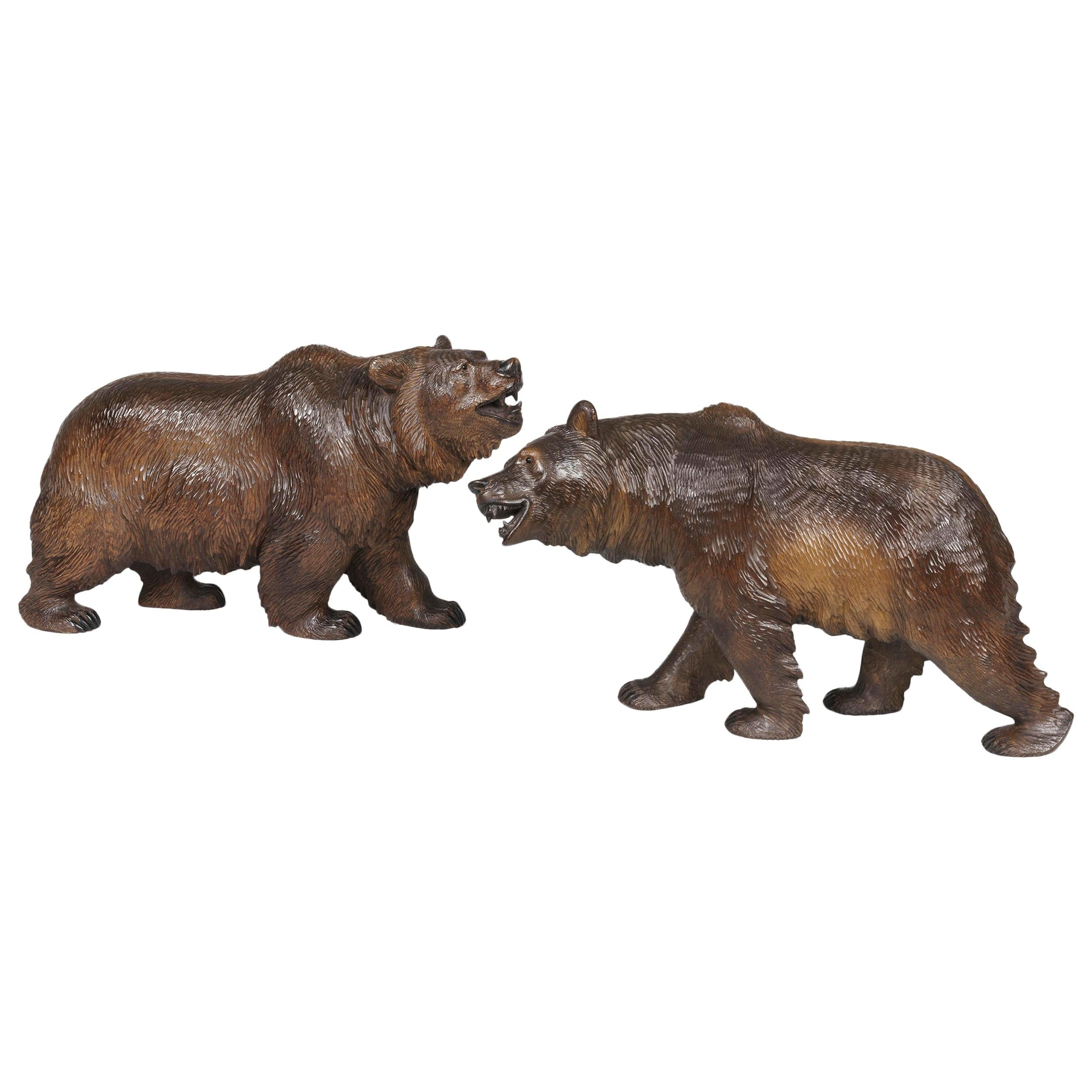 Pair of Swiss 19th Century Bear Carvings from the Black Forest