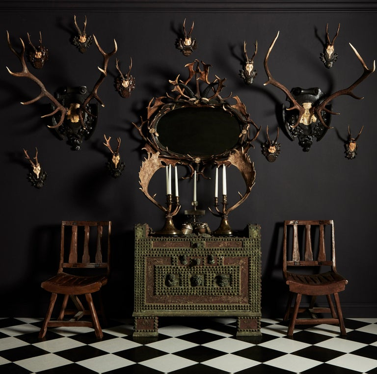 Early 20th Century Pair of Swiss 'Black Forest' Antler Carved Trophy Mounts, Dated 1906 and 1906 For Sale