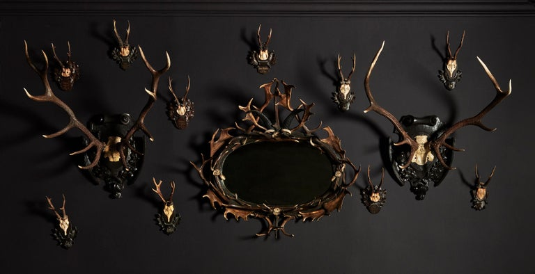 Pair of Swiss 'Black Forest' Antler Carved Trophy Mounts, Dated 1906 and 1906 For Sale 1