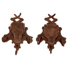 Pair of Swiss 'Black Forest' Dog and Wolf Coat Hooks