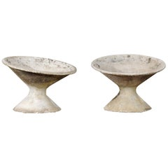 Pair of Swiss Midcentury Willy Guhl for Eternit Diabolo Planters with Patina