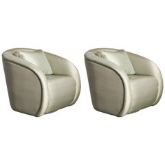 Pair of Swivel Chairs Attributed to Milo Baughman for Directional, circa 1980s