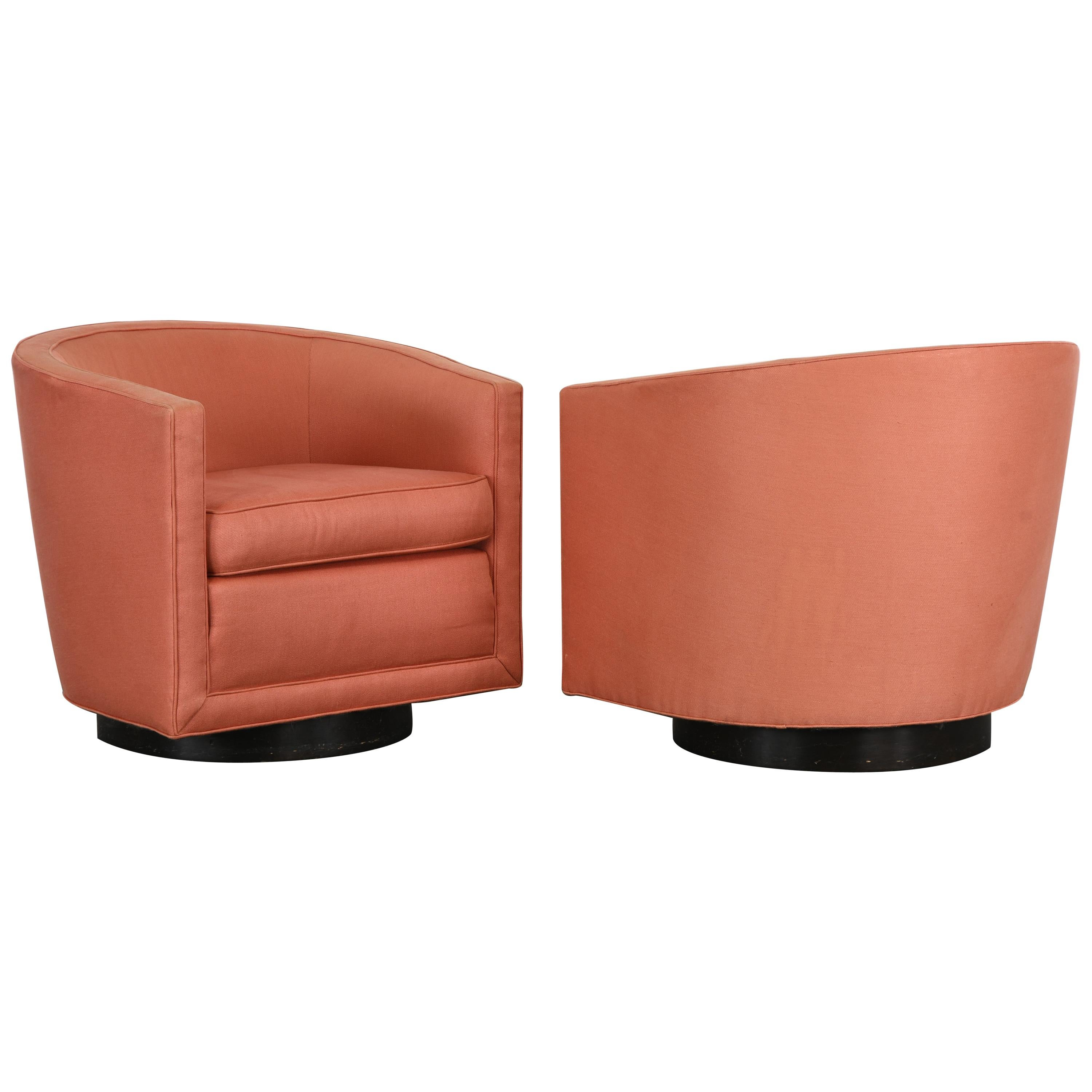 Pair of Swivel Chairs by Edward Wormley for Dunbar, 1970s