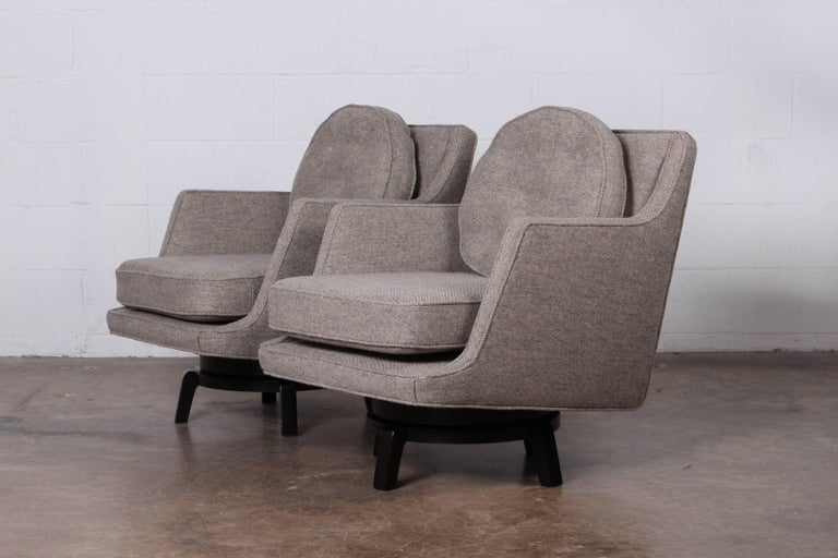 Fabric Pair of Swivel Chairs by Edward Wormley for Dunbar