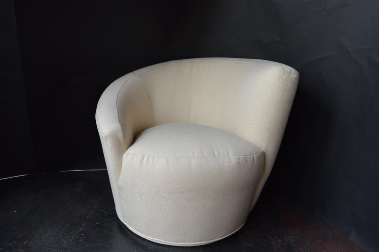 Pair of swivel chairs by Vladimir Kagan, newly upholstery, USA, 1960s.