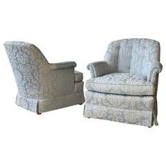 Pair of Swivel Club Chairs by Henredon
