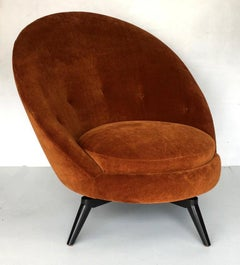 Pair of Swivel Egg Chairs in Burnt Orange velvet