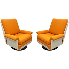 Pair of Swivel Lounge Chairs by Airborne, circa 1965, Made in France