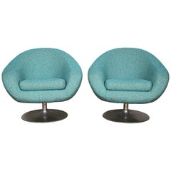 Pair of Swivel Lounge Chairs by Gastone Rinaldi in Turquoise Tweed, 1970, Italy