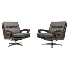 Pair of Swivel Lounge Chairs in Black Leather by Carl Straub, Germany, 1960s