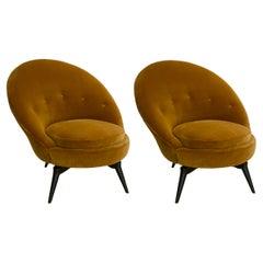 Pair of Swivel Lounge Chairs in Mustard Velvet