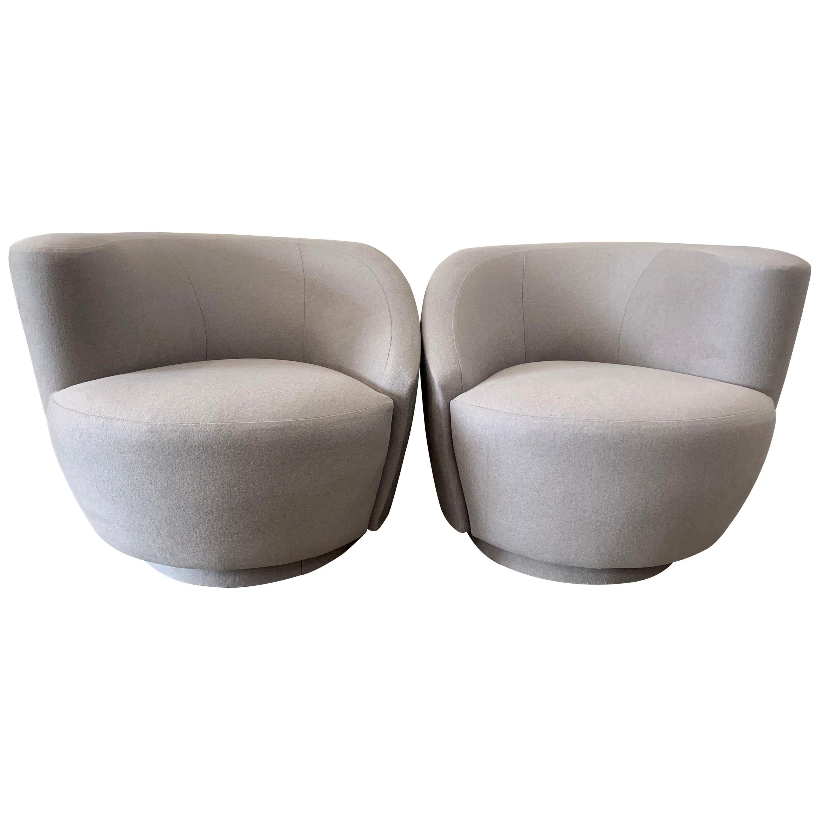 Pair of Swivel Parlor Chairs Upholstered in Light Grey Wool