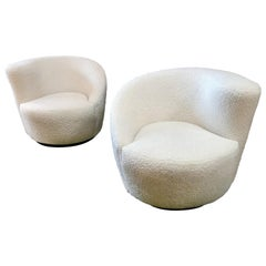 Pair of Swivel Parlor Chairs Upholstered in White Sheep Fabric, USA, 1960s