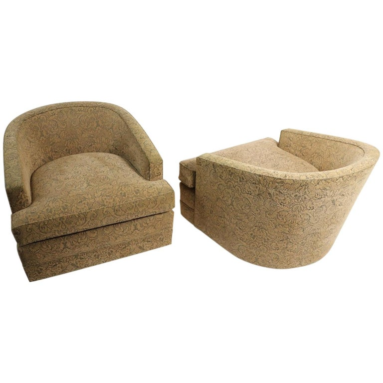 Pair of Swivel Tub Chairs in Chenille Damask For Sale