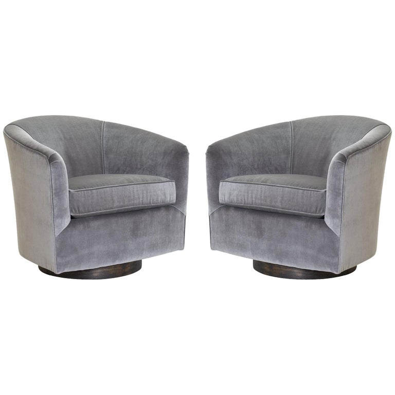 Pair Of Swivel Tub Chairs In Fog Velvet And Walnut Bases