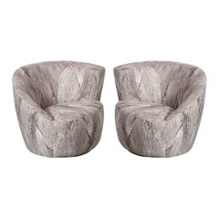 "Pair of Swiveling ""Nautilus"" Chairs by Vladimir Kagan in Holly Hunt Fabric"