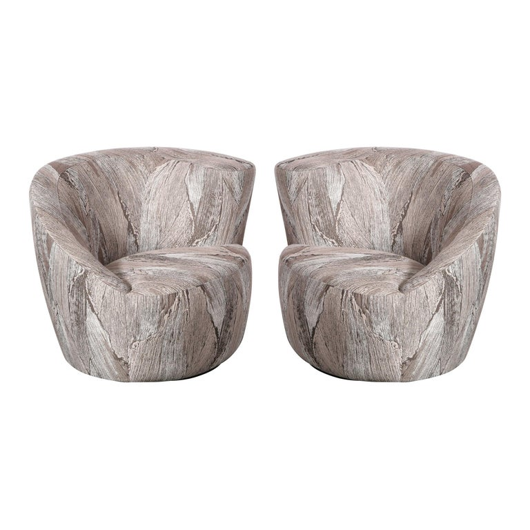 """Pair of Swiveling """"Nautilus"""" Chairs by Vladimir Kagan in Holly Hunt Fabric For Sale"""