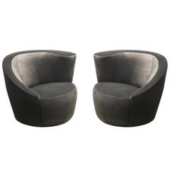 "Pair of Swiveling ""Nautilus"" Chairs by Vladimir Kagan in Luxe Charcoal Velvet"