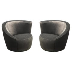 """Pair of Swiveling """"Nautilus"""" Chairs by Vladimir Kagan in Luxe Charcoal Velvet"""