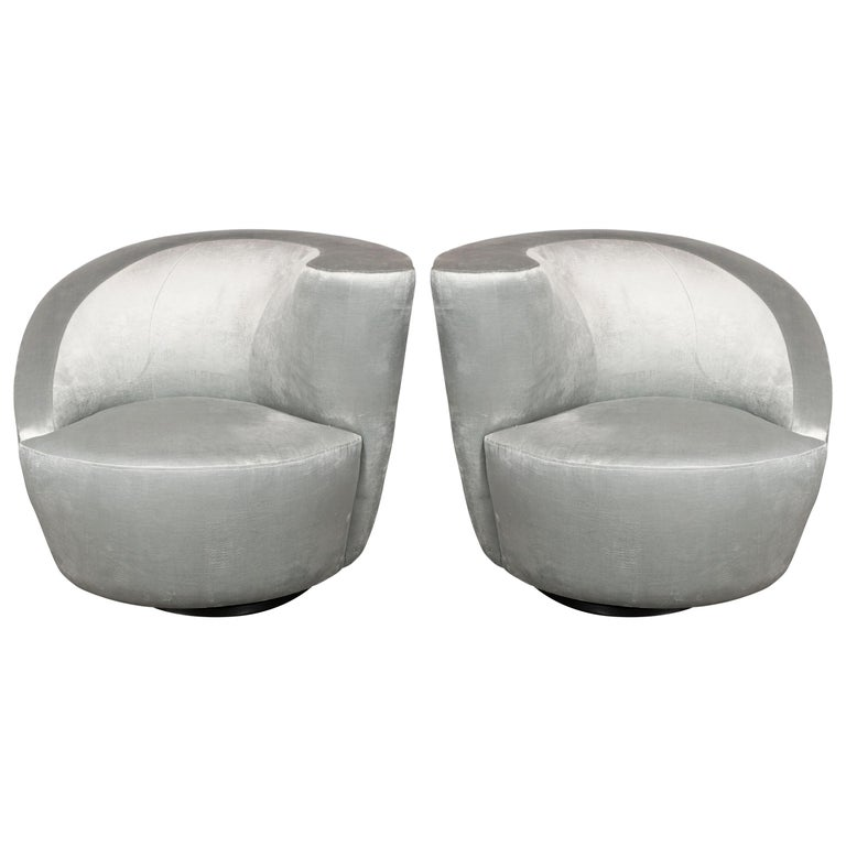 "Pair of Swiveling ""Nautilus"" Chairs by Vladimir Kagan in Smoked Platinum For Sale"