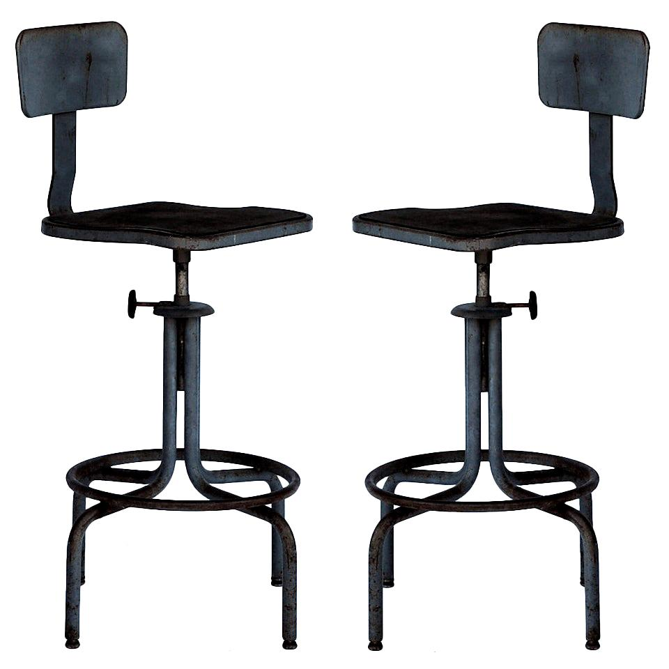 Pair of Swiveling Workshop Bar Stools