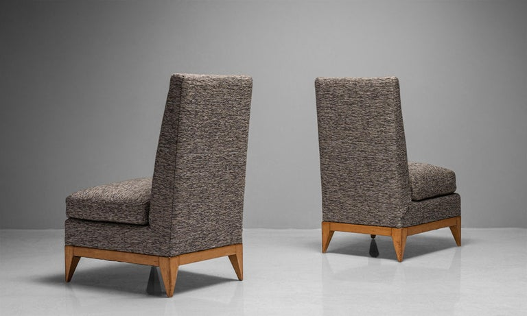Pair of Sycamore upholstered slipper chairs, France, circa 1950