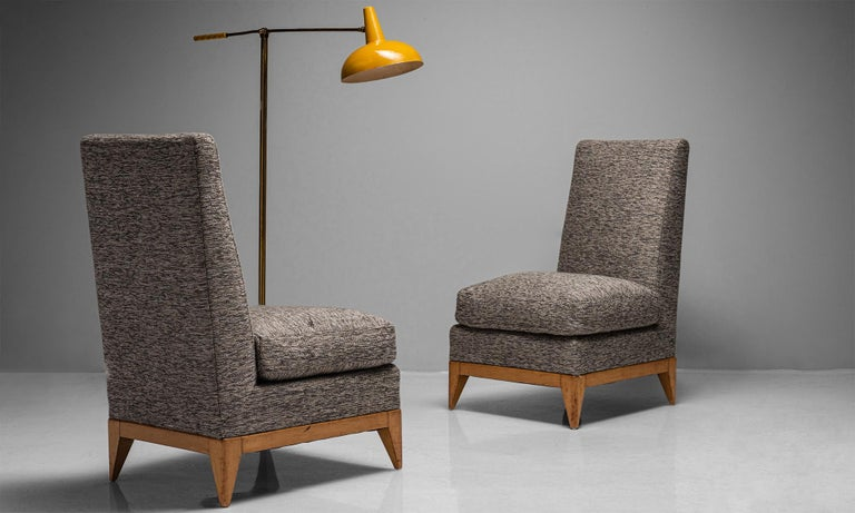 Modern Pair of Sycamore Upholstered Slipper Chairs, France, circa 1950 For Sale